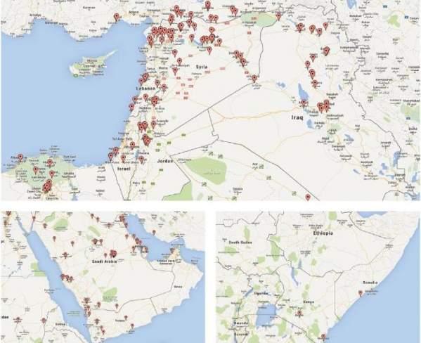 Identyfikacja geograficzna kont ISIS (grafika z raportu)