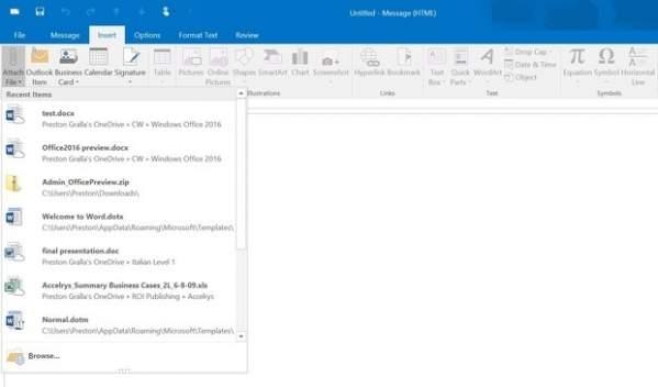Outlook z listą ostatnio używanych plików