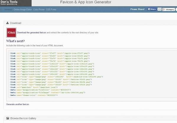 Favicon & App Icon Generator (foto: własne)