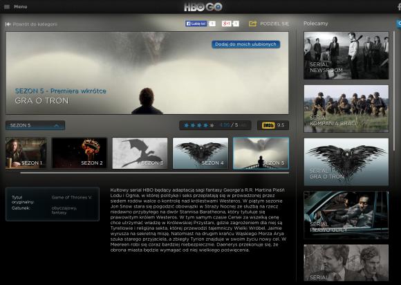 Pierwszy odcinek piątego sezonu Gry o Tron będzie dostępny bezpłatnie w serwisie HBO GO