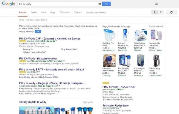"""Wyniki wyszukiwania Google - opcja """"Kup w Google"""" po prawej (foto: własne)"""