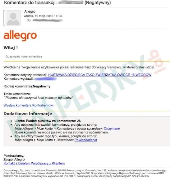 Atak phishingowy na użytkowników Allegro (źródło: Kaspersky Lab)