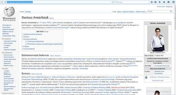 Prof. Dariusz Jemielniak w Wikipedii