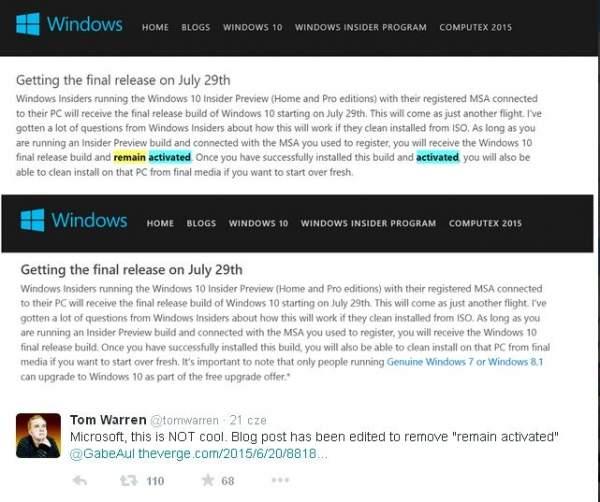 Windows 10 zmian w zapisach dotyczących darmowej aktualizacji