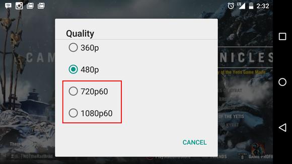Wybór 60 fps na smartfonie z Androidem