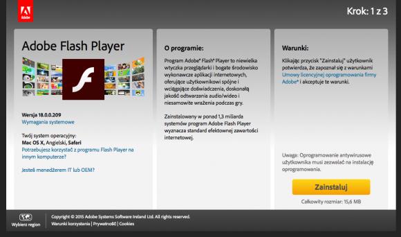 WtyczkęFlash Player należy pobierać wyłącznie ze strony <a href=https://get.adobe.com/pl/flashplayer/>Adobe</a>.