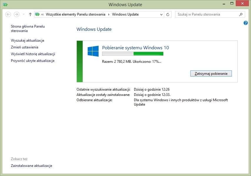 Pobieranie Windows 10 - usługa Windows Update