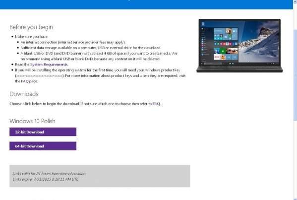 Pobieranie Windows 10 w postaci .iso