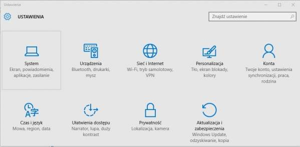 Panel ustawień Windows 10
