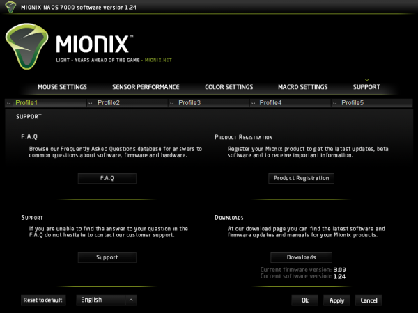 Mionix Naos 7000 - oprogramowanie