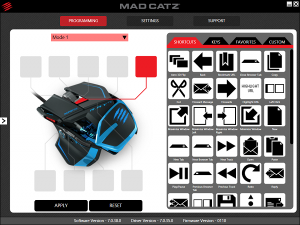 Mad Catz  R.A.T. TE - oprogramowanie