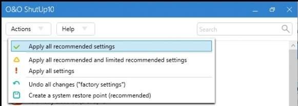 Użytkownik może samodzielnie dostroić ustawienia do swoich potrzeb, ręcznie włączając lub wyłączając funkcje, lub za jednym zamachem wprowadzić zalecane ustawienia.
