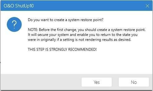 Przed wprowadzeniem zmian w systemie zaleca się utworzyć punkt przywracania. O&O ShutUp automatycznie proponuje wykonać tę czynność.