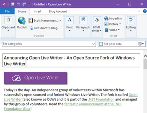 Open Live Writer zastępuje zamkniętego w 2012 roku Live Writera
