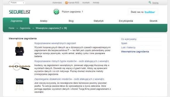 W witrynie KasperskyLab można znaleźć ciekawe informacje o wewnętrznych zagrożeniach, typach agresorów i zasadach przeciwdziałania.