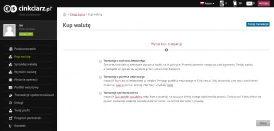 Cinkciarz.pl umożliwia wygodną wymianę walut przez internet przy niższych spreadach niż w tradycyjnych kantorach i bankach
