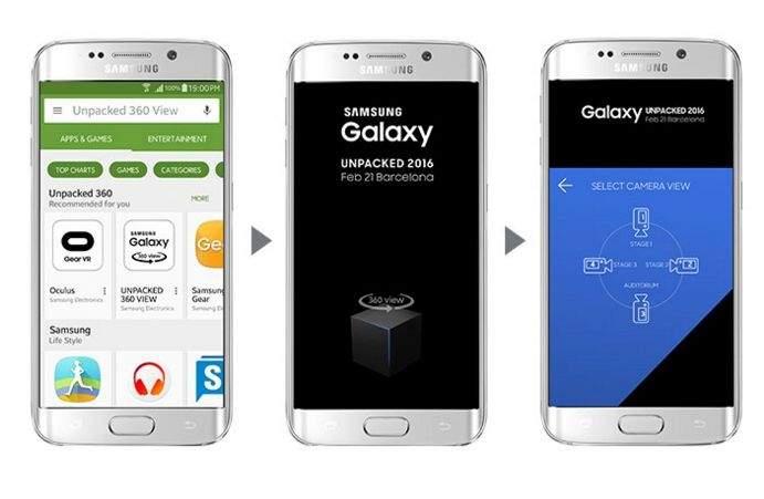 Samsung Galaxy Unpacked 2016 - dostępne widoki z poziomu aplikacji Unpacked 360 View