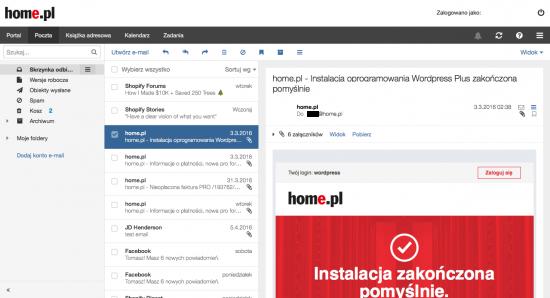 Nowoczesny i responsywny webowy program pocztowy home.pl wygląda i działa równie dobrze na komputerze, tablecie i smartfonie.