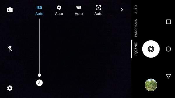 Alcatel Idol 4 - interfejs aparatu w trybie ręcznym