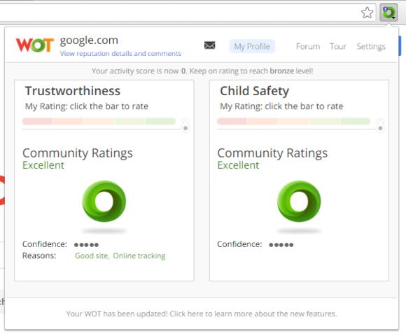 Dodatek do przeglądarek Web of Trust wyświetla poziom zaufania dla strony, na którą masz zamiar wejść, a także potencjalne zagrożenia.