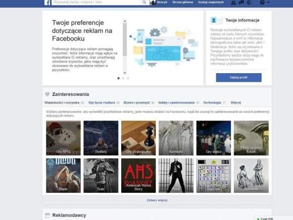 Preferencje reklam na Facebooku