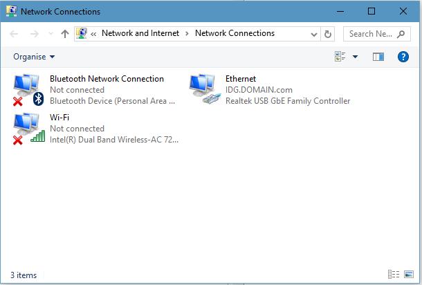 Dostępne połączenia sieciowe