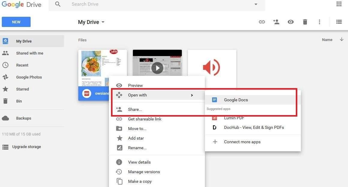 Otwieranie pliku PDF za pomocą Google Docs