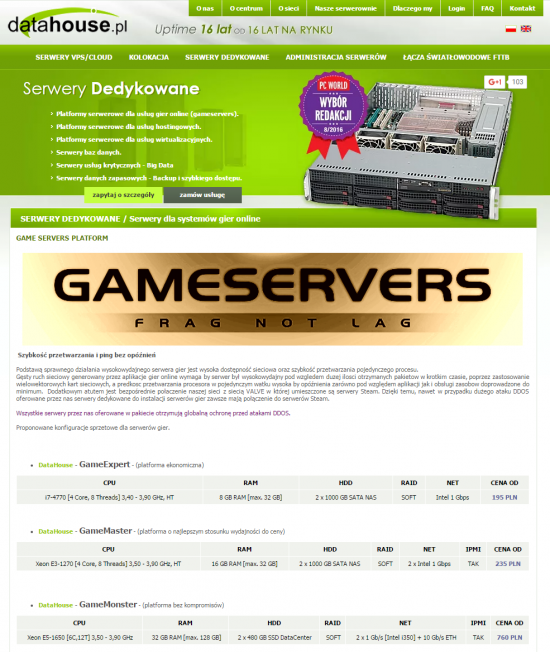Serwery dedykowane z linii Game Servers w datahouse.pl otrzymują w pakiecie globalną ochronę przed atakami DDoS. Dzięki bezpośredniemu połączeniu z siecią VALVE nawet w przypadku dużego ataku serwery mają zawsze połączenie do serwerów Steam.