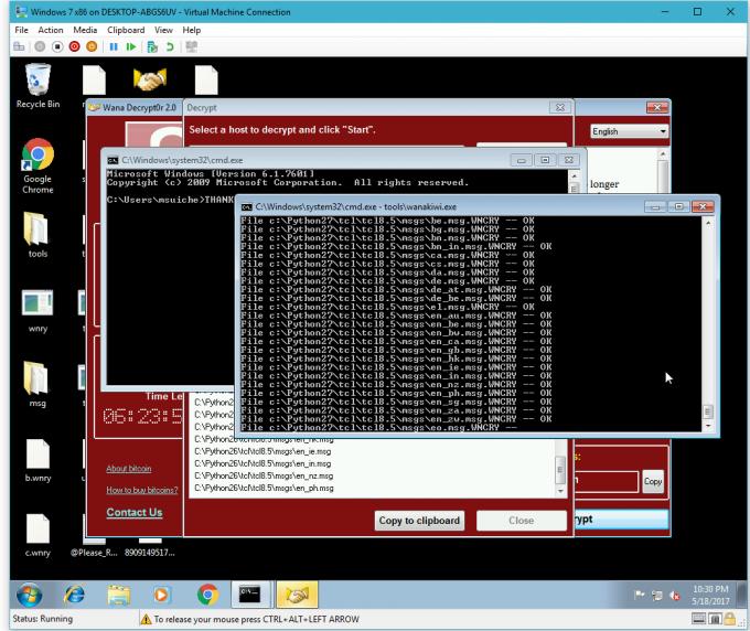 Działanie narzędzia wanakiwi, pomocnego w usuwaniu skutków infekcji ransomwarem WannaCry.