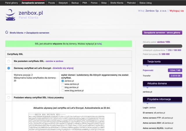 Hosting w zenbox.pl obsługuje darmowe certyfikaty Let's Encrypt. Dzięki wbudowanym narzędziom system automatycznie odnawia certyfikat co 60 dni, a więc zgodnie z zaleceniami Let's Encrypt.