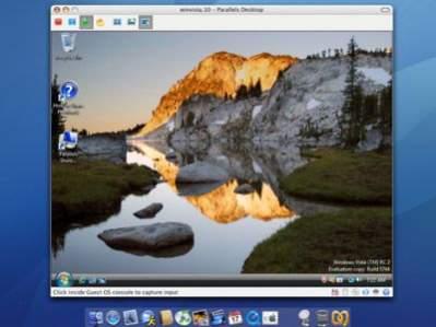 Windows Vista uruchomiony w systemie Mac OS X z wykorzystaniem Parallels Desktop for Mac