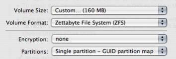ZFS w Disk Utility z Mac OS X 10.5