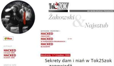Blog autorów programów Tok2Szok nie został zaatakowany -  to tylko dowód na to, że w blogach na blox.pl można umieścić dowolne obce wtręty...