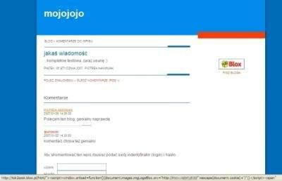 Prosty exploit umieszczony w testowym blogu założonym na blox.pl udowodnił, że atak jest możliwy. Ofiara musiała tylko kliknąć odnośnik w komentarzu, chociaż uważnego i doświadczonego internautę zaniepokoiłby dziwny adres wyświetlany na dole okna przeglądarki...