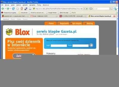 Główna strona blox.pl z wstrzykniętym kodem włamywacza. Wygląda identycznie, jedynie pasek adresu w przeglądarce zdradza, że dzieje się coś niedobrego. Cierpliwy włamywacz mógł jednak przygotować całkowicie nieczytelny kod wyświetlany w pasku adresu... Po zalogowaniu przez taką stronę nazwa i hasło