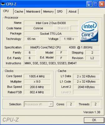 E4300 wyposażony jest w 2 MB współdzielonej pomiędzy dwa rdzenie pamięci podręcznej drugiego poziomu. Jego standardowe taktowanie to 1,8 GHz.