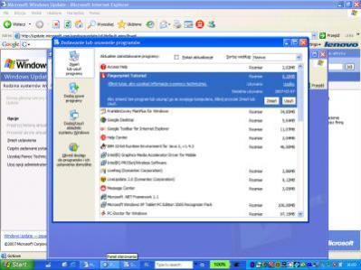 Windows XP tuż po wyjęciu notebooka marki IBM ThinkPad z pudełka. Warto zwrócić uwagę na pasek zadań (na dole). W laptopach Della sytuacja wygląda bardzo podobnie