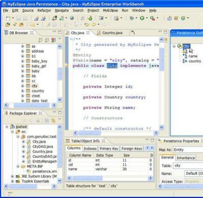 """Widok """"MyEclipse Java Persistence"""" ułatwia pracę z projektami JPA i EJB3"""