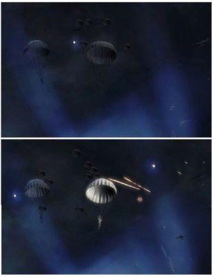 Poprawione oświetlenie. Teraz nawet ogień przeciwlotniczy traktowany jest jako dynamiczne źródło światła. Widzimy także dynamiczne cienie