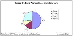 Udziały poszczególnych krajów CEE (mld euro) na rynku usług pozagłosowych w telefonii komórkowej