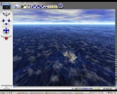 Bryce 5.5 - trwa rendering sceny...