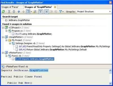 Funkcja wyszukiwania użycia działa teraz w projektach mieszanych