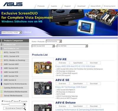 Poszukiwania modelu płyty na stronie firmy ASUS