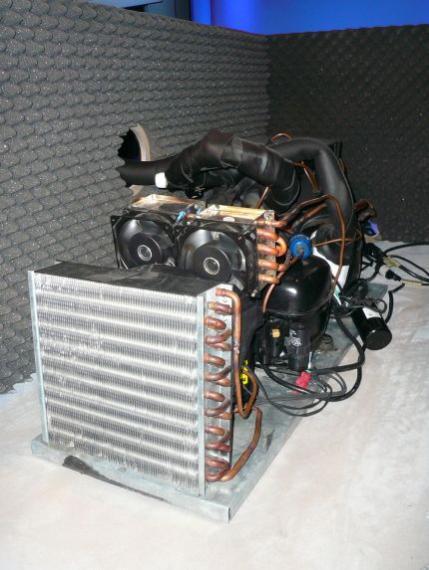 Chłodzenie monstrum - 3 stopniowe, kaskadowe, schładzało procesor do -106 stopni C