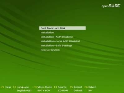 Ekran instalacyjny openSUSE 10.3 - charakterystyczna zieleń wzbudza zaufanie