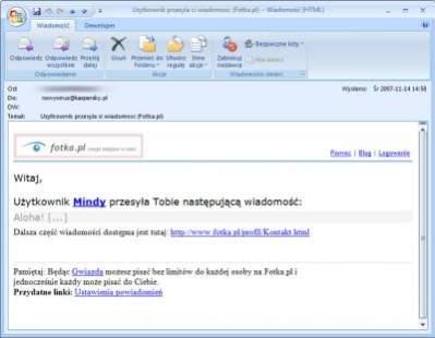 Wiadomość e-mail od rzekomego użytkownika Fotka.pl zaprasza do kliknięcia w link...