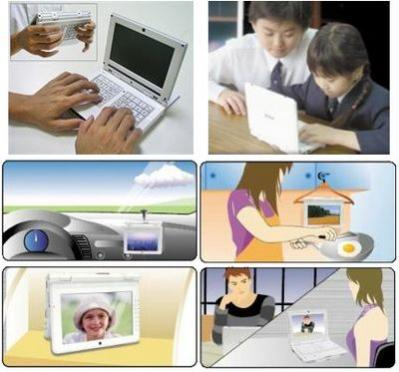 Noahpad (źródło: www.pocketables.net). Interesujące są propozycje producenta na wykorzystanie komputera. Na szczególną uwagę zasługuje pomysł zawieszenia urządzenia na drewnianym wieszaku w kuchni:-)