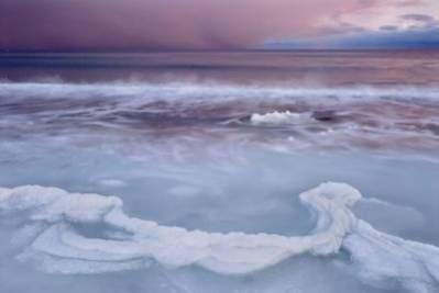 copyright Słońce zachodzące w lodzie, morzu i śniegu, Orsolya Haarberg, Węgry
