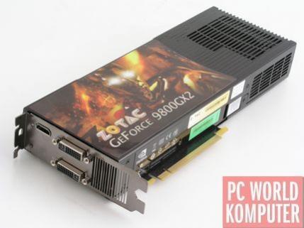 GeForce 9800 GX2 ZOTAC-a to konstrukcja referencyjna. Karta jest długa - 27 cm i bardzo ciężka, ponad 1,1 kg.