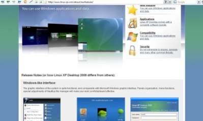 Witryna reklamująca Linux XP Desktop wyraźnie nawiązuje do stron Microsoftu i Apple.